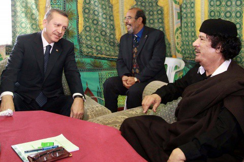 Turkish Prime Minister Erdogan and Libyan leader Muammar Gaddafi. The Turkish government had gone on record opposing the imperialist threat of direct intervention in the North African state of Libya, yet shifted their position to support the US-NATO war. by Pan-African News Wire File Photos
