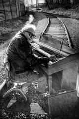Railroad Tracks and an Organ - Norman 2040 (JLPhotoArt - Jeremy Lindstrom) Tags: ca musician music canada vintage keyboard bc surrealism traintracks surreal oldman retro newwestminster unplugged railroadtracks lowreyorgan