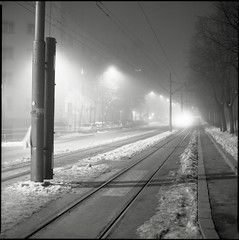 Tadeua Koukog (OverdeaR [donkey's talking monkey's nodding]) Tags: park street snow 120 6x6 film fog night mediumformat square lens zoo diy shadows nocturnal traffic kodak vrt tmax pavement steel serbia stock tracks tram railway ps scan pole lamppost bronica scanned rails hood belgrade grad crossroads beograd f28 solution steamy stari sideways sqa krug no co2 srbija 80mm kalemegdan tmx10