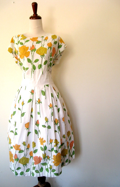 Falling Flowers Colorful Cotton Spring Dress, Vintage 60's