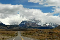 Road to Fitz Roy, Patagonia, Argentina (hkimages) Tags: patagonia mountains southamerica argentina bike bicycletouring steppe cyclingtour chileanpatagonia