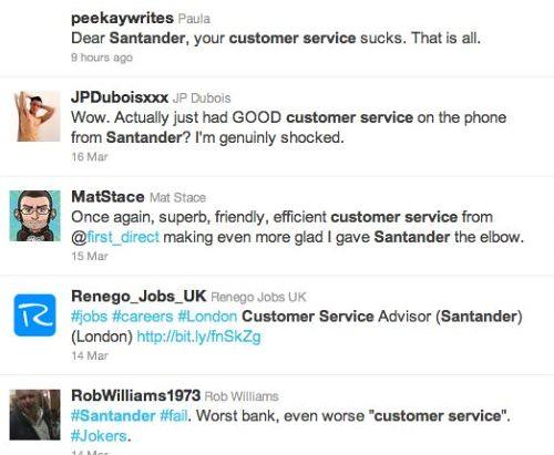 Twitter complaints Santander