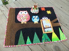 Almost ready to mail... (ruthiequilts) Tags: handmade applique owls paperpieced dqs10 dollquiltswap10