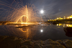 Full moon wool orb (- Hob -) Tags: longexposure lightpainting reflection orb fullmoon lowtide whitleybay rockpool singleexposure lightjunkies woolspin