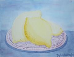 (taylorweath) Tags: blue color sc yellow watercolor painting lemon nikon paint purple plate lemons blend surfside d3100