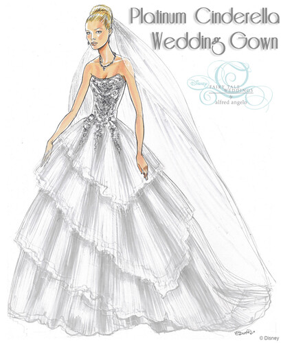 Platinum Cinderella Wedding Gown Sketch