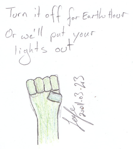 Militant greeny message for EarthHour