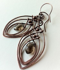 Smokey quartz and copper wire (anikosandor) Tags: earring copper earrings smokeyquartz wirewrapped