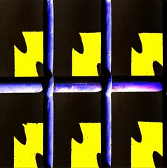 Cos,per evasione... (meghimeg) Tags: blue light shadow sun muro yellow wall jaune square soleil bars gate blu ombra gelb giallo genova jail blau grating sole sonne luce prigione inferriata sbarre 2011 quadrata abigfave