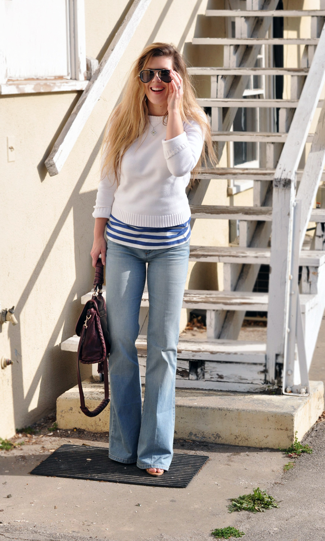 A messy Nautical look, flared jeans, blue and white striped tank under a white sweater with messy tangled hair and aviator sunglasses, DSC_0216