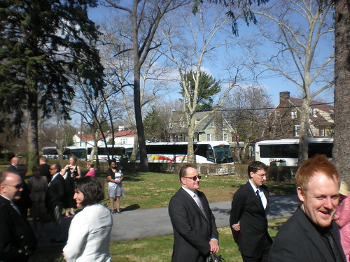 Buses outside church at wedding