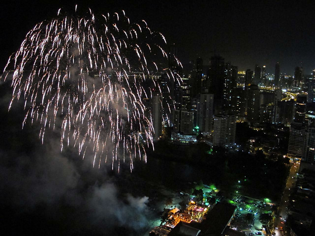 Fireworks seen from above