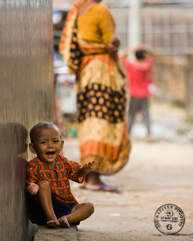 A child cries in the slums of Sylhet, Bangladesh.