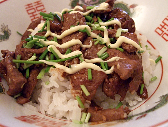 Sesame Beef on steamed rice
