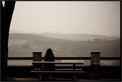 Alone in my thoughts (alessandro.pietrantuono) Tags: italy woman bench landscape donna italia alone looking hills piemonte thoughts piedmont pensieri sola malinconia seduta paesaggio colline contemplation langhe panchina contemplazione