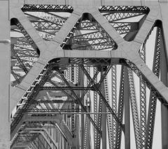 A Bridge (Jane Inman Stormer) Tags: bridge blackandwhite metal kentucky repetition louisville through tresses a