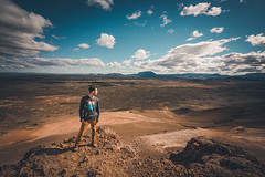 Mt. Nmafjall (Mark Liddell) Tags: mt mount mountain nmafjall namafjall hverarond lake myvatn mvatn hverir hverarnd iceland island hiking climbing geothermal hot spring area summit view vista landscape europe travel blue sky desert sand earth markliddell me self portrait scottish boy man guy ear piercing scaffold industrial stubble shaved hair fade side part style profile adventuretime clouds behind sunny day adventure time ultra wide angle slope