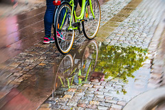 Reflection (Maria Eklind) Tags: bicycle malm sweden street cityview spegling city reflection europe rain cykel weather skneln sverige se