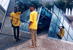McBonn (Nailah Fisher) Tags: mirror mirrors color yellow blue tile tiles sculpturw sculpture square squares triangle triangles reflection nationalgalleryofart sprinklet sprinkler fountain landscape