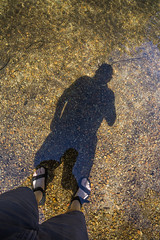 Shadow Selfie along Merced River in Yosemite National Park (Lee Rentz) Tags: sentinelbeach america california feet legs mercedriver mountainous mountains nationalparkservice northamerica picnicarea rippled ripples river selfie shadow sierra sierranevada usa water yosemite yosemitenationalpark yosemitevalley