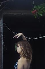 (yyellowbird) Tags: red house flower abandoned girl branch florida cari