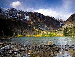 Parker Lake in Fall.  October 16, 2010 (Robert Pearce Photography) Tags: california trees light orange cloud mountain lake snow fall water yellow rock landscape october filter aspens sierranevada folliage 2010 parkerpeak easternsierra clearingstorm gnd nikond200 singhray graduatedneutraldensity parkerlake robertpearce robertpearcephotography