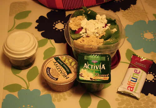 Musselman's Granny Smith applesauce, salad, Dannon Activia Vanilla bean, attune raspberry chocolate bar