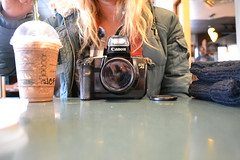 DSC_0079 (Laury Hans) Tags: camera winter film coffee canon coat jacket starbucks blended blonde iced