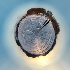 Marsh Creek Lake World (romverj) Tags: snowflake people panorama sun lake snow ice water clouds creek landscape pennsylvania pa marsh snowfall marshcreek stereographic creeklake marshcreeklake stereographicpanorama