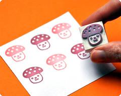 Mushroom hand carved rubber stamp