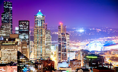 Big City Lights (Shoeven) Tags: seattle city blue sky streets color green colors skyline night lights washington downtown purple stadium space needle hdr