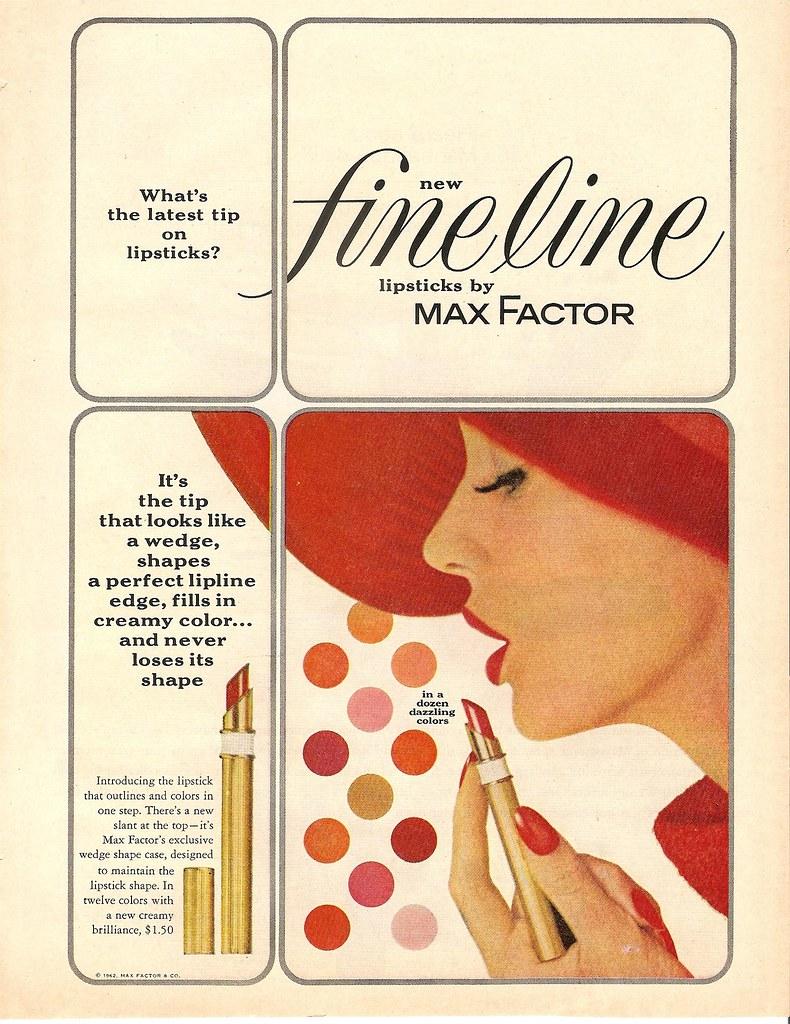 1962 max factor fine line lipstick ad