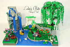 Lover's Glade (Siercon and Coral) Tags: fish tree rabbit castle love girl animal swim butterfly river garden waterfall swan squirrel hare picnic hummingbird lego crane turtle romance swing lovers frog ladybug creature weepingwillow glade moc afol bemybrickintine