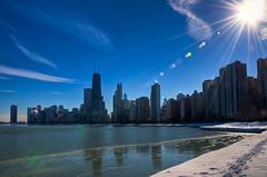 Sunny Chicago (benchorizo) Tags: winter chicago skyline nikon freezing sunny hdr northavebeach chicagoist banias d90