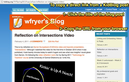 How to copy a direct link on KidBlog