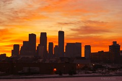 Delayed Sunrise (Doug Wallick) Tags: city morning urban snow minnesota skyline sunrise humboldt downtown minneapolis avenue picnik lightroom a230 platinumheartaward mygearandme mygearandmepremium mygearandmebronze artistoftheyearlevel4