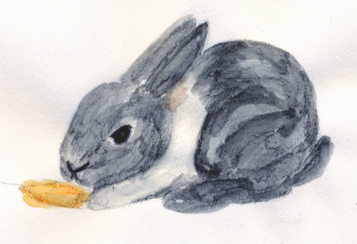 My watercolor painting of Oreo Cookie, our pet bunny.