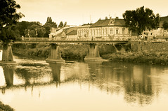central bridge (Yermakov) Tags: old city trip travel bridge summer house color green tower water colors beautiful beauty yellow sepia buildings river square landscape town colorful waves mood shadows earth walk central bridges landmark ukraine rivers views reflexion uzhgorod uzh