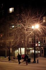 Jaywalk to Warmth (Kurayba) Tags: street winter people snow canada cold night lights couple downtown edmonton crossing pentax snowy walk f14 warmth falling 99 ave alberta da handheld grocery 55 avenue jm 107 jaywalking k5 jaywalk smcpda55mmf14sdm