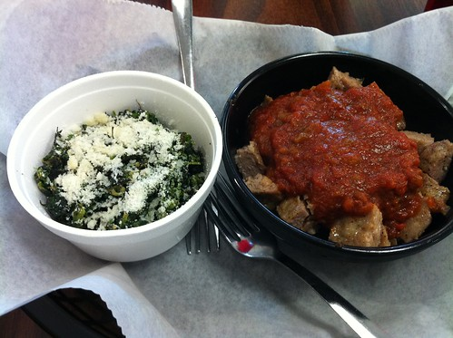 Hot sausage and Italian Spinach from Vanelli's, Memphis, Tenn.