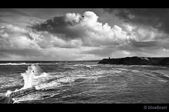 Berwick Storm (blue fin art) Tags: sea bw storm water clouds canon north wave northumberland berwickupontweed