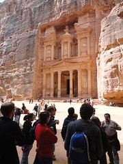 Students admire the ancient Nabatean city of Petra.