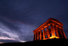 Penshaw Twilight (Alice144.) Tags: old uk longexposure light sunset england stone architecture twilight ancient hill wideangle landmark lit pillars northeast leaning sunderland penshawmonument dblringexcellence tplringexcellence eltringexcellence