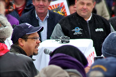 Rep. Keith Ellison speaking to the Wisconsin Solidarity rally crowd @ MN State Capitol