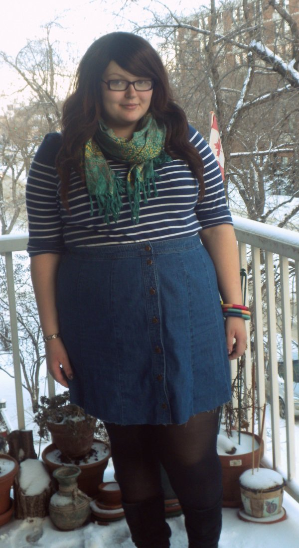 denim skirt ootd