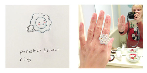 Comparison Sketch From Memory - Happy Porcelain Ring