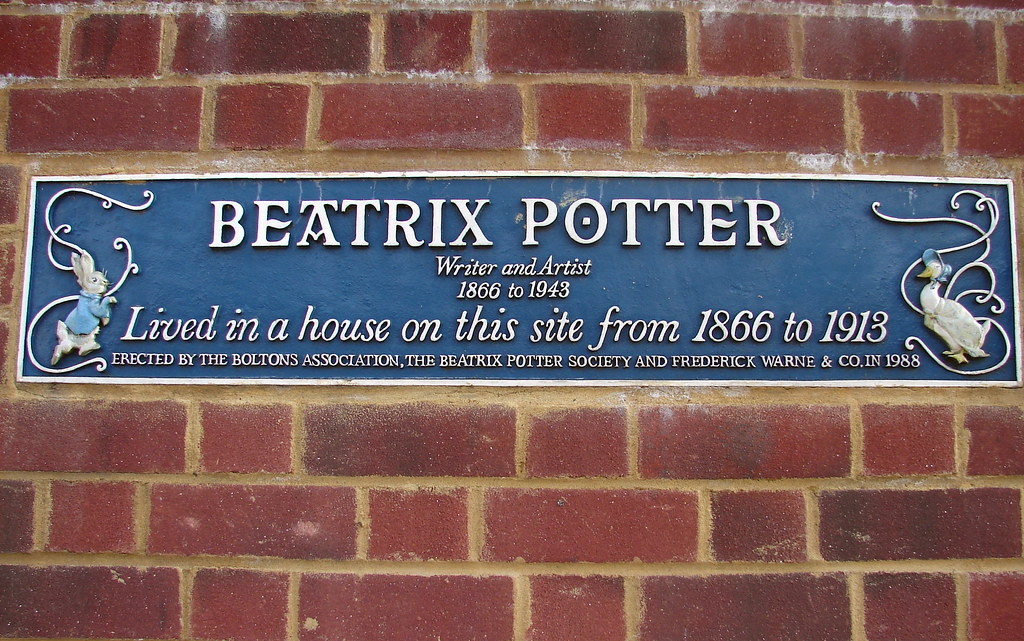 Beatrix Potter blue plaque - Beatrix Potter lived in a house on the site from 1866 to 1913