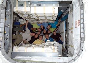 Crews of Expedition 26 and STS-133 inside Leonardo!