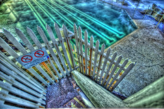 Bronte Beach Swimming Pool Steps (tobysaville) Tags: ocean morning sea sun beach pool sign fence steps sydney australia nsw ripples rise hdr bronte lanes oceanpool brontebeach hdrphoto australiabrontebeach