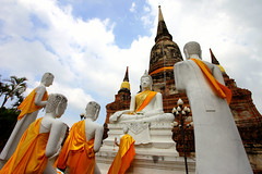 Holy conference (... Arjun) Tags: blue orange color colour colors yellow thailand temple gold iso100 ruins asia colours bright wide kingdom wideangle unescoworldheritagesite worldheritagesite holy conference 2010 f9 ayutthaya 17mm watyaichaimongkhon canonef1740mmf4l bluelist ayutthayahistoricalpark canoneos5dmarkii canon5dmarkii greatmonasteryofauspiciousvictory